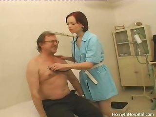 Redhead Nurse Sucks a Man off in a Dirty Video