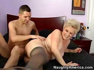 Shaved mature pussy takes meat