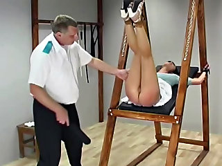 Bound and flogged with leather strap