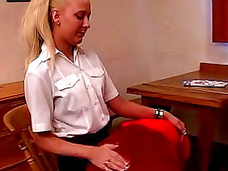 Over the knee spanking in skirt