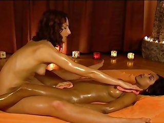 Erotic brunette plays with her nice sister