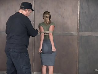 Cute blonde with perky tits gets wet during a BDSM session