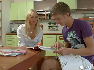Yummy blonde teen gets a rough banging in the kitchen