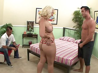 Glamorous blonde demoiselle wants the cum to land on her boobs