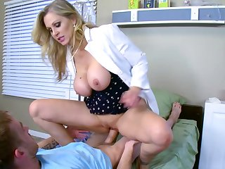 Julia Ann feels more than willing to pull down her panties and try this patient's huge cock for a few spins right on the Hospital bed