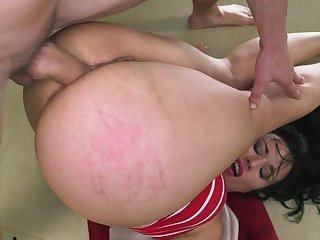 Brunette bimbo with curvy ass craves for dick in her cramped butt hole after naughty anal stimulation with some stiff toys