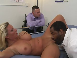 Take a closer look at this magnificent blonde Devon Lee which is banging with black doc Tyler Knight