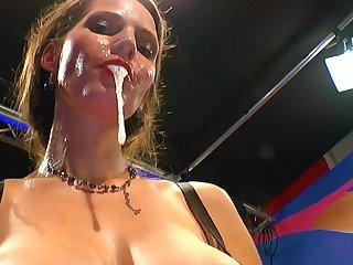 Hardcore brunette Viktoria is getting filled with tasty white juice this perverted bukkake scene