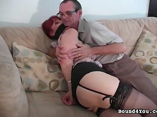 Winning and beauty babe in black stockings wants her powerful old man to put gag in her mouth