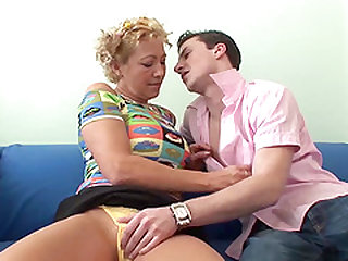Blonde Kinky Granny Pleasuring Young Cock