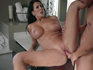 Top raven with amazing tits and perfect ass, Reagan Foxx, surprised to have her step son's large cock fully in her greedy mature pussy and mouth