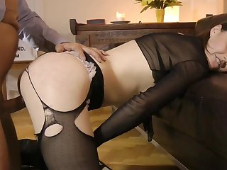 Sleazy redhead enjoys every inch of this senior dick deep slamming her tight cherry in a lustful hardcore scene