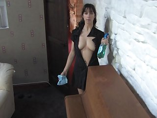 Cute dark-haired maid Jojo with perfectly sensational figure is demonstrating her tits