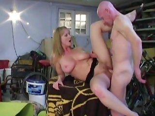 Very busty blonde with natural boobies Monika being banged in her small wet asshole