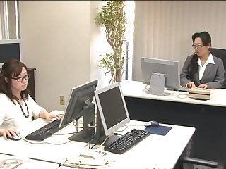 Cute Japanese chick in office uniform and nice glasses is playing with her lovely snatch