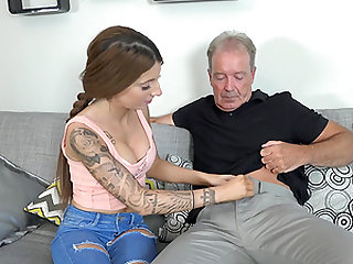 Lucie Amour wants to ride an elderly lover's swollen cock