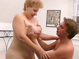 Grabbing Ann's mature saggy tits and demolishing her experienced pussy