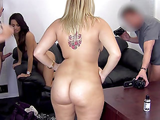 Big booty model throbbed hardcore doggystyle in group sex casting