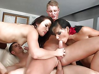 Dude has her cock sucked while her anal penetrated hardcore