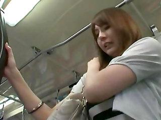 Horny lady fucked hard in a public transportation by many men
