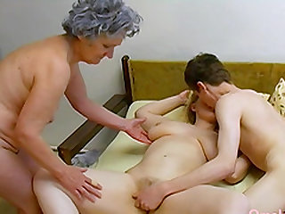 Amateur mature footage featuring old threesome sex masturbation
