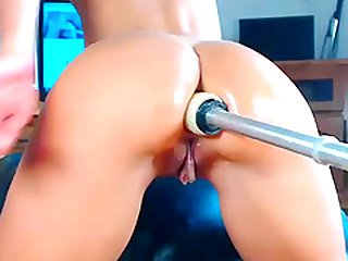 A stunning view anal abused by machine