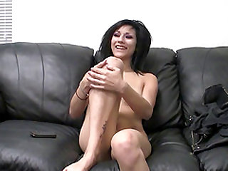 Skinny Devon having her pussy demolished during her casting