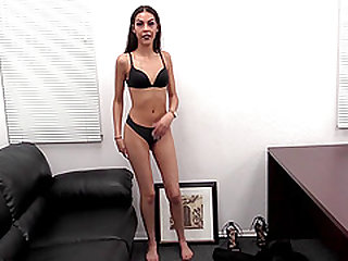 Skinny but pretty brunette April showing off her dick sucking skills