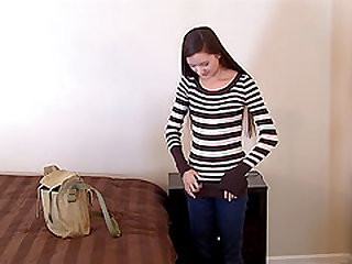 Skinny teen Claire drilled using toy in reality casting