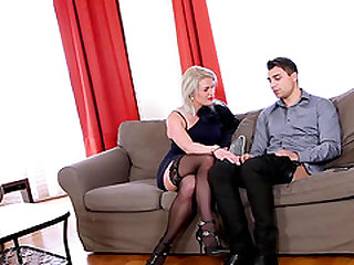 Cute blonde in stockings banging on cock hardcore