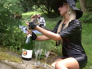 Three glamorous lesbian babes are having a session in the backyard