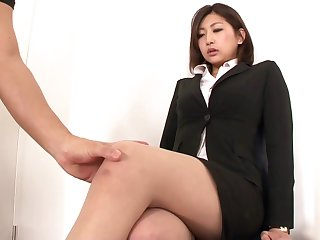 Aggressive fucking of a Japanese beauty in pantyhose and a skirt