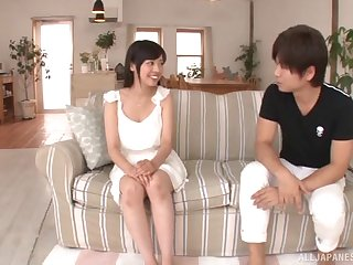Dark-haired sweetie from Japan getting banged by her horny lover