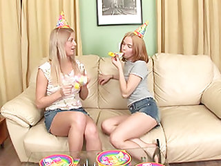 Lucky guy gets the best gift for his birthday two beautiful teen blondes on his huge dick