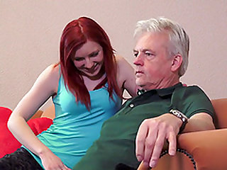 Gray hair man gets lucky with an insatiable redhead cutie