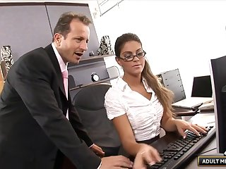 Exotic chick in stockings decides to do the dick riding in the office