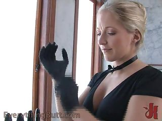 Hot Blonde Has Fun Masturbating with Latex Gloves