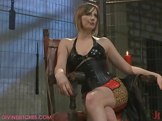 Hot Brunette Dominatrix Has a Wild BDSM Scene with her Slaves