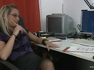 Bisexual Threesome In The Office With The Hot Blonde Lexxis Brown