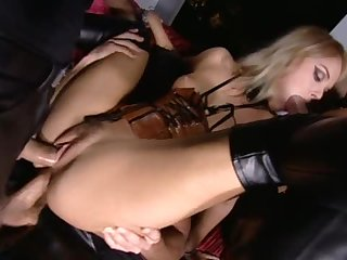 Blonde Slut Gets Double Penetration In A Wild Group Sex