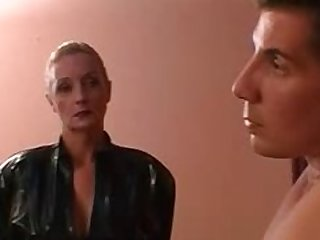 Blonde Mature Dominatrix Sucks and Fucks a Young Cock