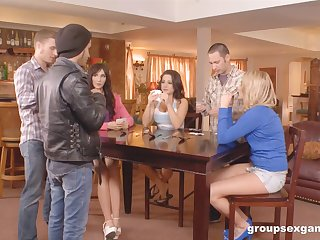 House party turns into a great orgy with hot milfs