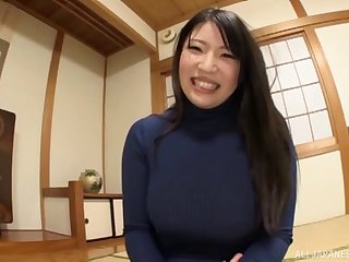 Big boobs hottie in a turtleneck and pantyhose masturbates