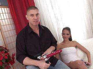 Silvie's hairy pussy receives the pleasure from the new machine