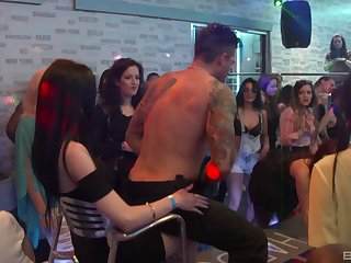 Dancing and cocksucking hotties get down at a club