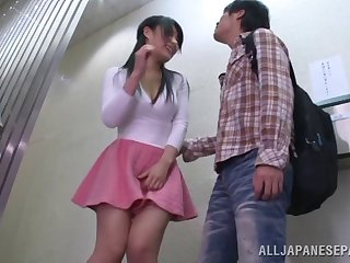 Alluring Asian teen in a skirt gets fucked hard in a hallway