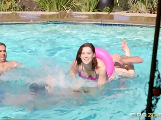 Fun in the pool turns into fucking in all over the house