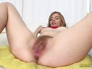 Blonde girl's hairy pussy gets a thorough dicking from a hung guy