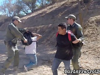 Cop fucking a Latina babe up against at tree in the desert