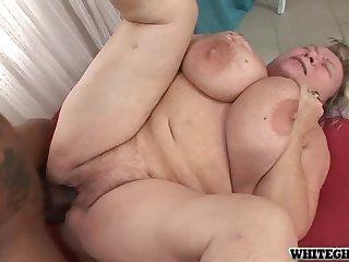 Grandma sucks and fucks a huge black dick